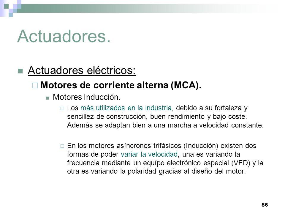 56 Actuadores. Actuadores eléctricos: Motores de corriente alterna (MCA). Motores Inducción. Los más utilizados en la industria, debido a su fortaleza