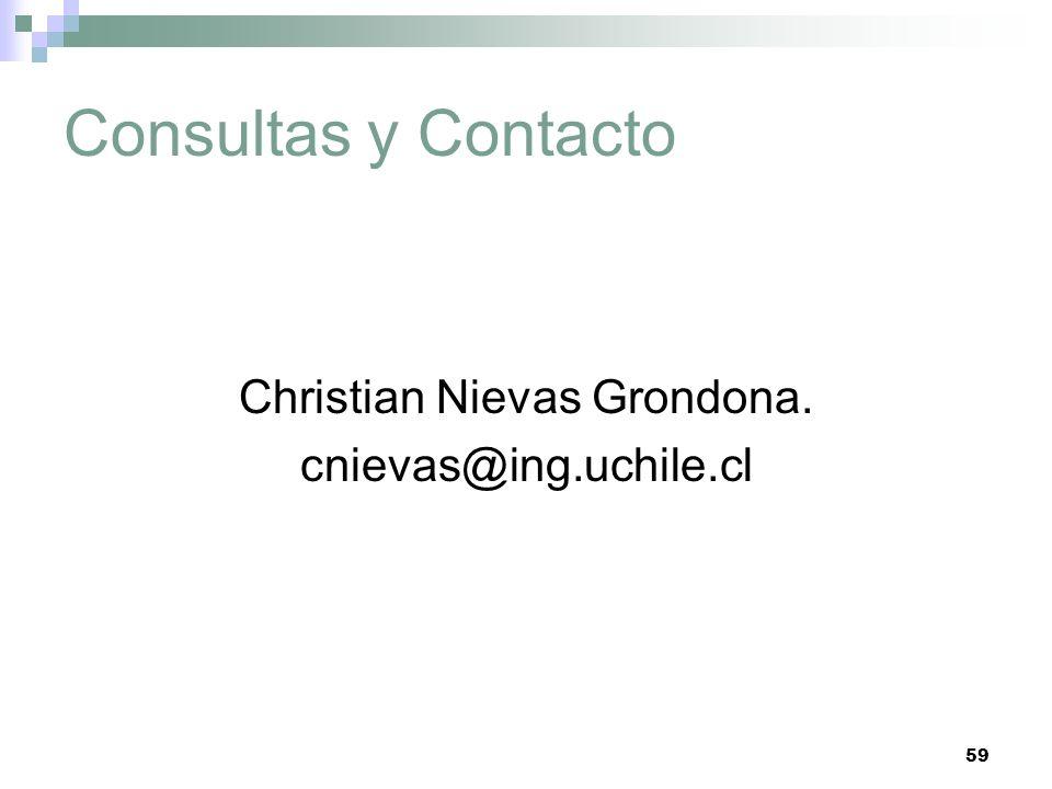 59 Consultas y Contacto Christian Nievas Grondona. cnievas@ing.uchile.cl
