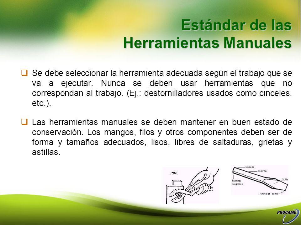 Estándar de las Herramientas Manuales Se debe seleccionar la herramienta adecuada según el trabajo que se va a ejecutar.
