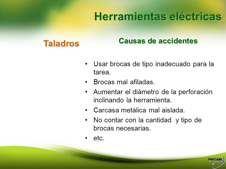 Esmerilangular Causas de accidentes Uso de disco incorrecto para la tarea. Enchufes deteriorados o inexistentes. Someter el disco a velocidades mayore
