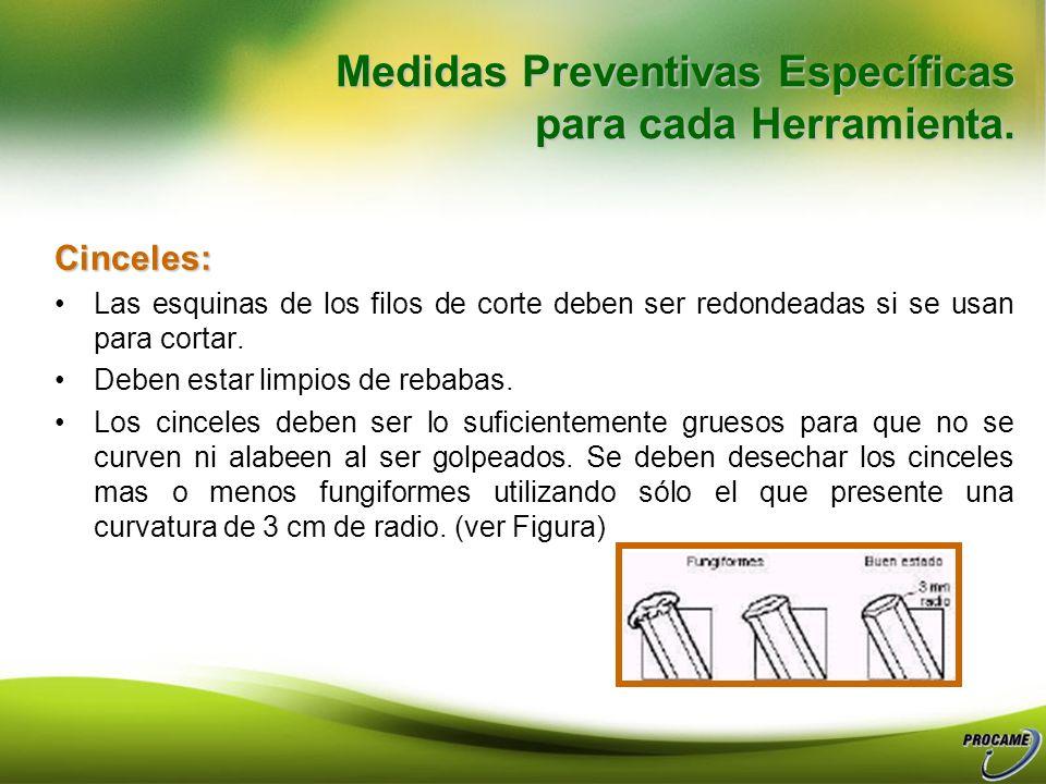 Mantenimiento. Engrasar periódicamente el pasador de la articulación. Medidas Preventivas Específicas para cada Herramienta Medidas Preventivas Especí