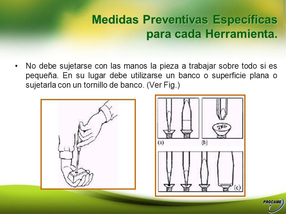 Medidas Preventivas Específicas para cada Herramienta. Utilización de Destornilladores: Espesor, anchura y forma ajustado a la cabeza del tornillo. (F