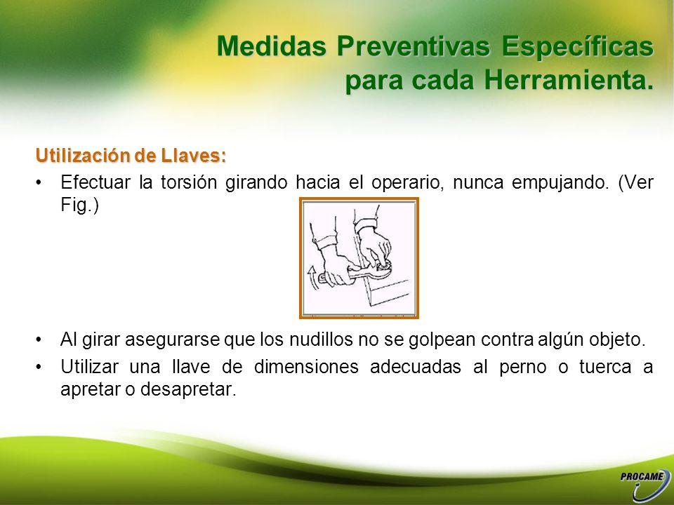 Medidas Preventivas Específicas para cada Herramienta. Quijadas y mecanismos en perfecto estado. Cremallera y tornillo de ajuste deslizando correctame