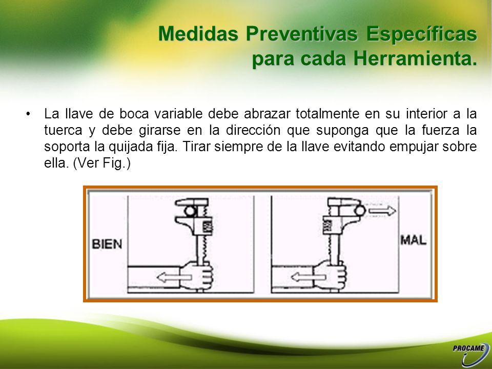 Es más seguro utilizar una llave más pesada o de estrías. (Ver Fig.) Para tuercas o pernos difíciles de aflojar utilizar llaves de tubo de gran resist