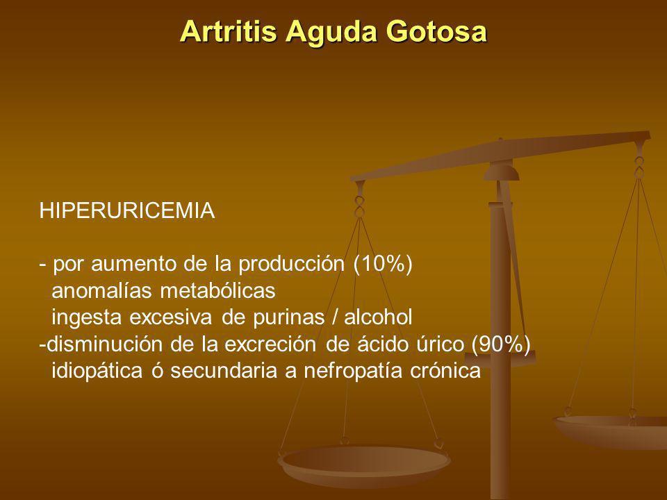Artritis Aguda Gotosa HIPERURICEMIA - por aumento de la producción (10%) anomalías metabólicas ingesta excesiva de purinas / alcohol -disminución de l