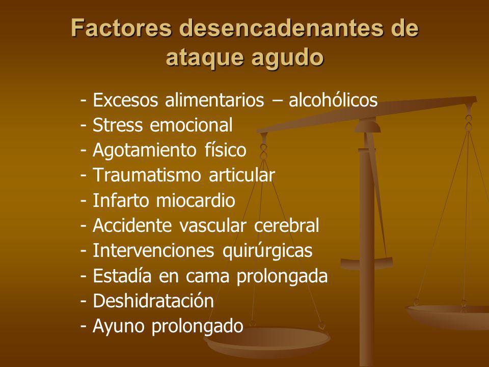 Factores desencadenantes de ataque agudo - Excesos alimentarios – alcohólicos - Stress emocional - Agotamiento físico - Traumatismo articular - Infart