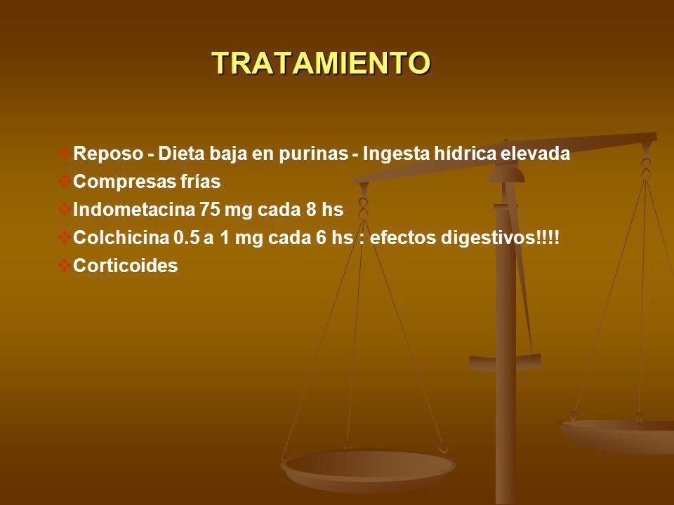 TRATAMIENTO Reposo - Dieta baja en purinas - Ingesta hídrica elevada Compresas frías Indometacina 75 mg cada 8 hs Colchicina 0.5 a 1 mg cada 6 hs : ef