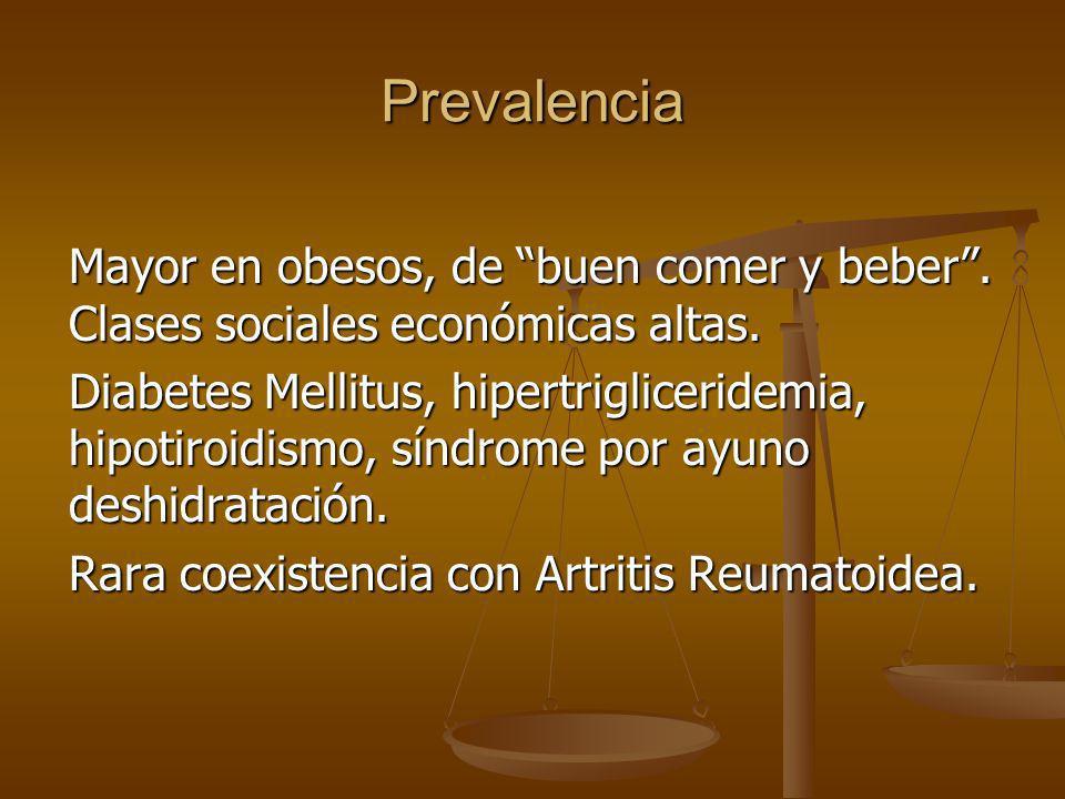 Prevalencia Mayor en obesos, de buen comer y beber. Clases sociales económicas altas. Diabetes Mellitus, hipertrigliceridemia, hipotiroidismo, síndrom