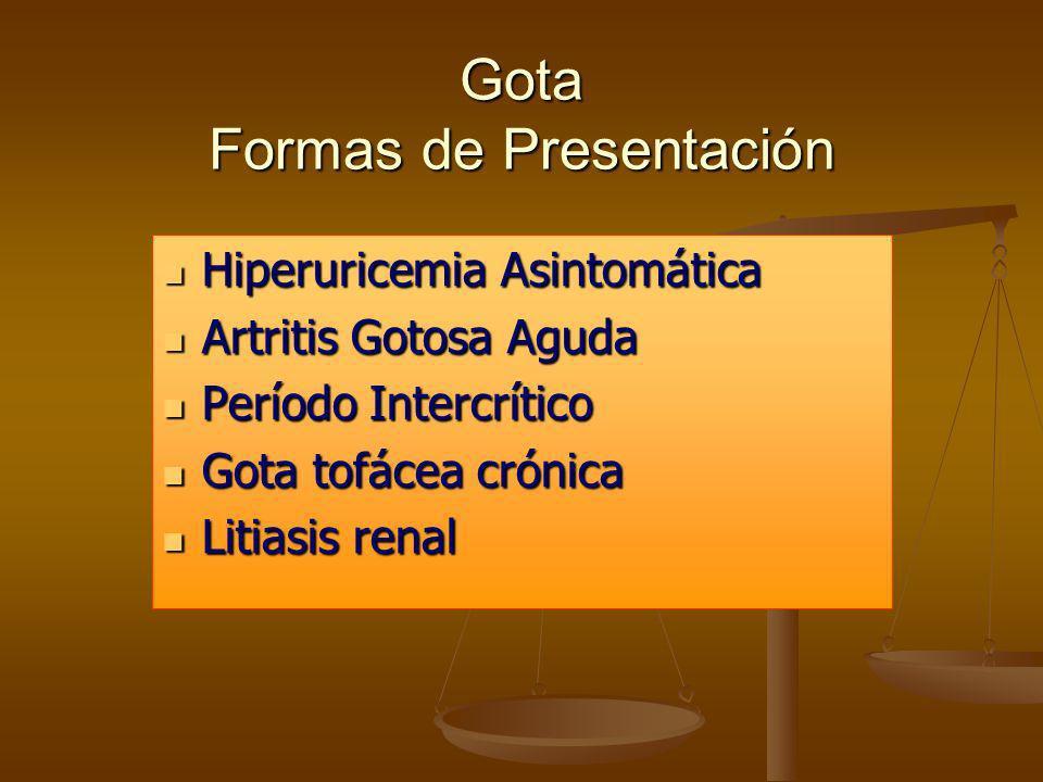 Gota Formas de Presentación Hiperuricemia Asintomática Hiperuricemia Asintomática Artritis Gotosa Aguda Artritis Gotosa Aguda Período Intercrítico Per