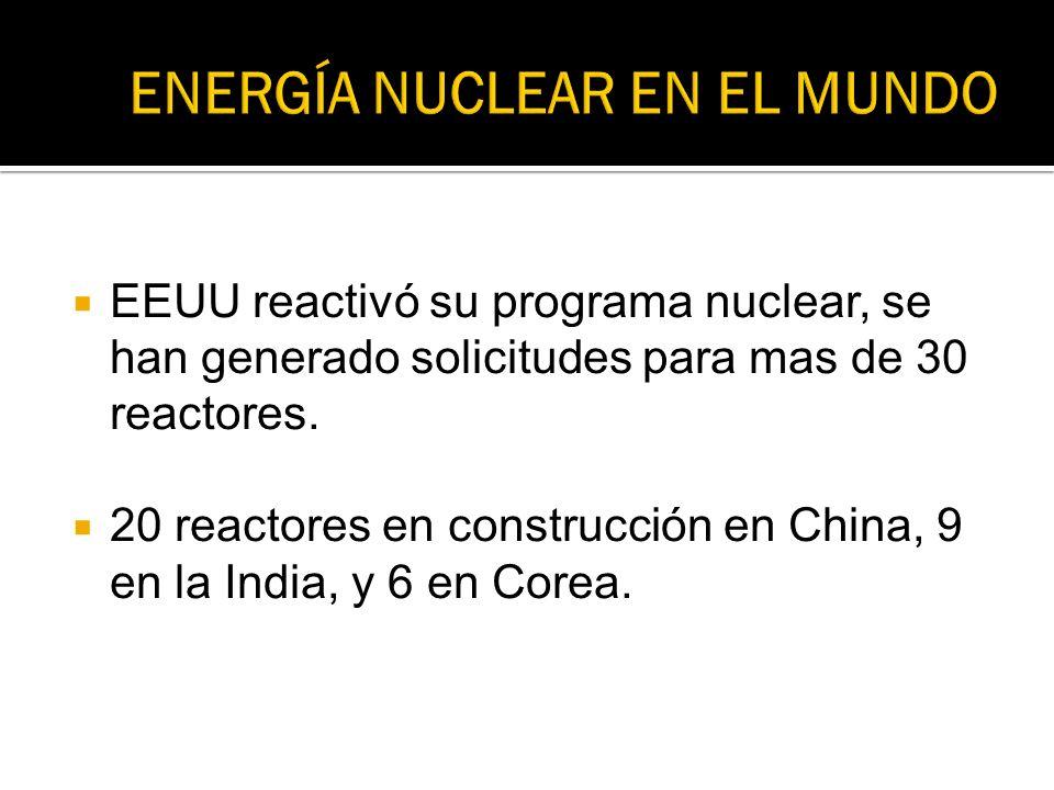 EEUU reactivó su programa nuclear, se han generado solicitudes para mas de 30 reactores. 20 reactores en construcción en China, 9 en la India, y 6 en