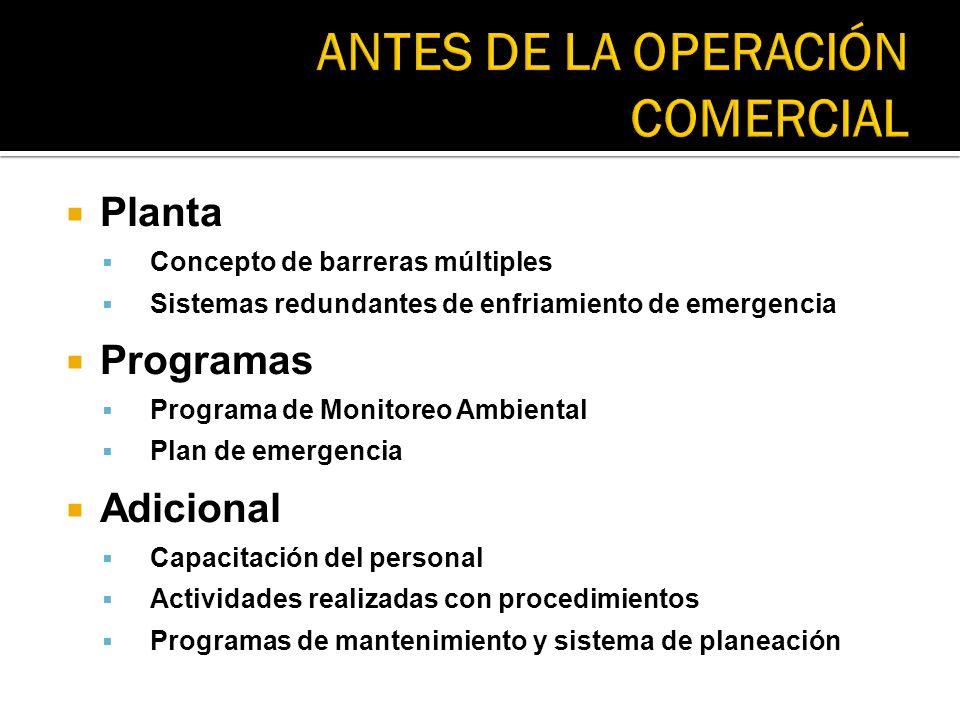 Planta Concepto de barreras múltiples Sistemas redundantes de enfriamiento de emergencia Programas Programa de Monitoreo Ambiental Plan de emergencia