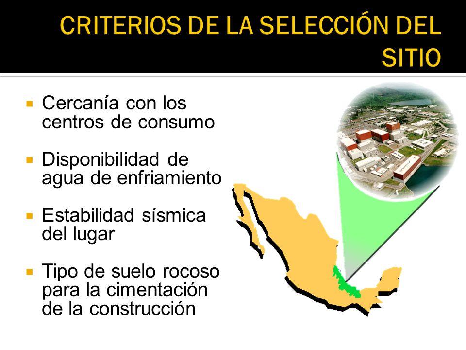 Cercanía con los centros de consumo Disponibilidad de agua de enfriamiento Estabilidad sísmica del lugar Tipo de suelo rocoso para la cimentación de l