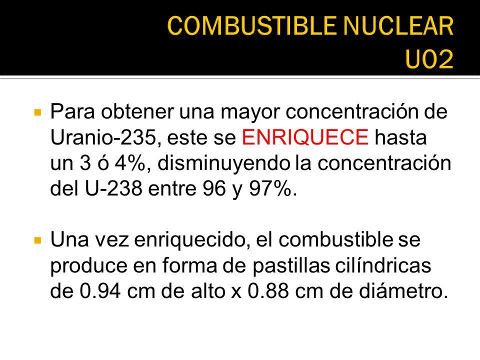Para obtener una mayor concentración de Uranio-235, este se ENRIQUECE hasta un 3 ó 4%, disminuyendo la concentración del U-238 entre 96 y 97%. Una vez