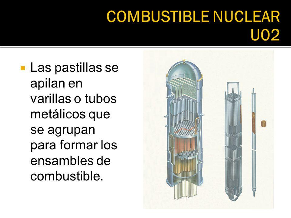 Las pastillas se apilan en varillas o tubos metálicos que se agrupan para formar los ensambles de combustible.
