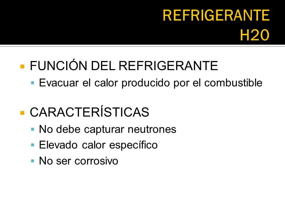 FUNCIÓN DEL REFRIGERANTE Evacuar el calor producido por el combustible CARACTERÍSTICAS No debe capturar neutrones Elevado calor específico No ser corr