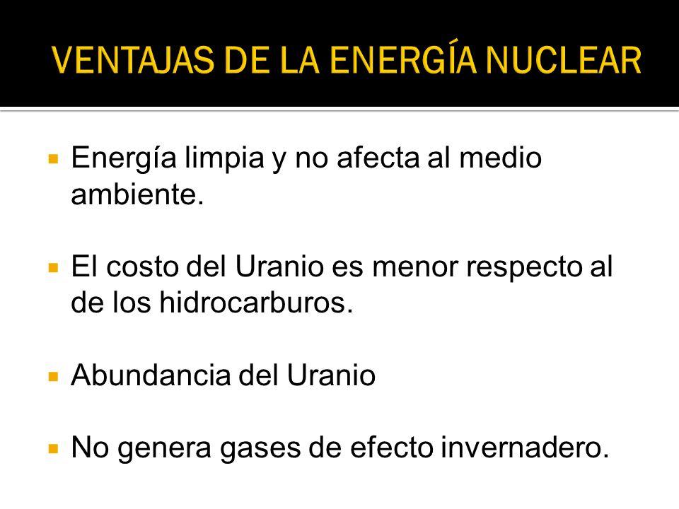 Energía limpia y no afecta al medio ambiente. El costo del Uranio es menor respecto al de los hidrocarburos. Abundancia del Uranio No genera gases de