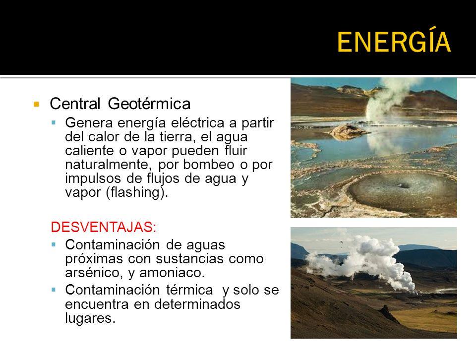 Central Geotérmica Genera energía eléctrica a partir del calor de la tierra, el agua caliente o vapor pueden fluir naturalmente, por bombeo o por impu