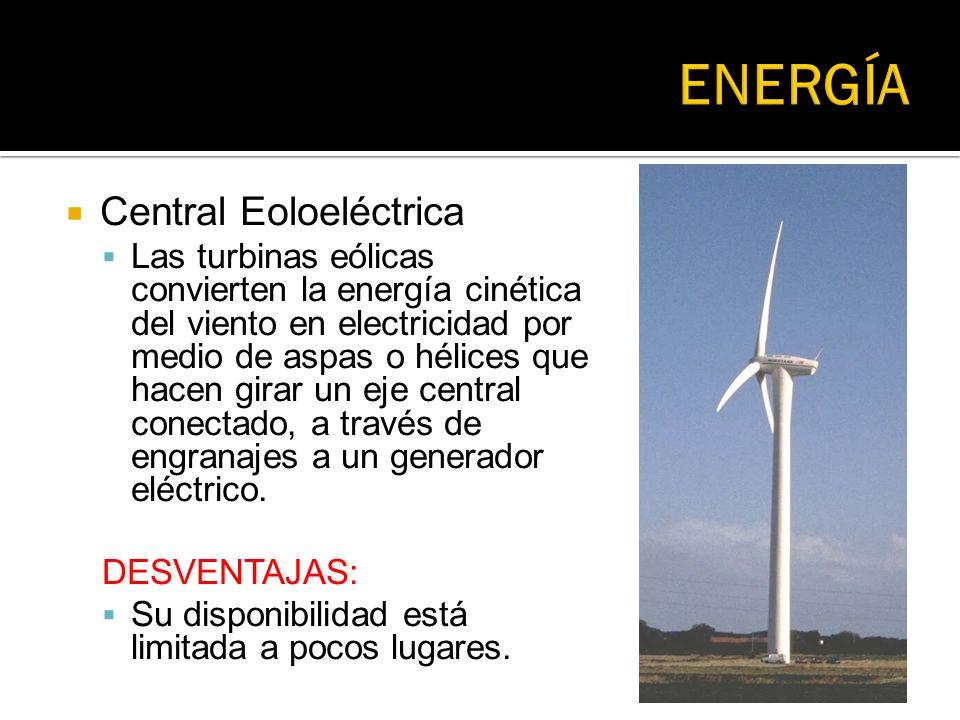 Central Eoloeléctrica Las turbinas eólicas convierten la energía cinética del viento en electricidad por medio de aspas o hélices que hacen girar un e
