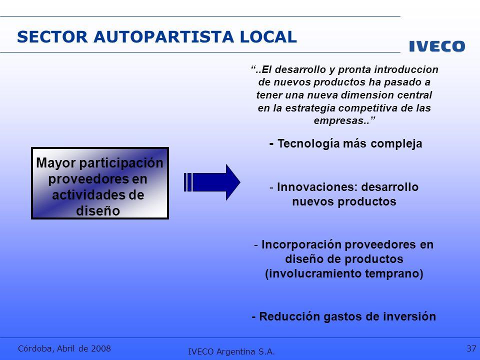 Córdoba, Abril de 2008 IVECO Argentina S.A. 37 Mayor participación proveedores en actividades de diseño..El desarrollo y pronta introduccion de nuevos