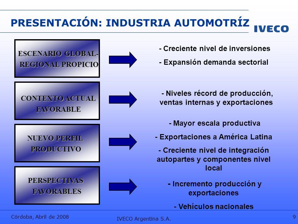 Córdoba, Abril de 2008 IVECO Argentina S.A. 9 PRESENTACIÓN: INDUSTRIA AUTOMOTRÍZ ESCENARIO GLOBAL- REGIONAL PROPICIO CONTEXTO ACTUAL FAVORABLE - Creci