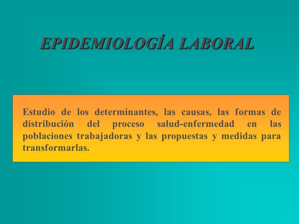 EPIDEMIOLOGÍA LABORAL Estudio de los determinantes, las causas, las formas de distribución del proceso salud-enfermedad en las poblaciones trabajadora