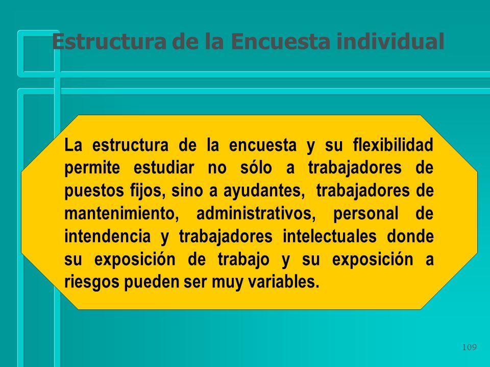 109 La estructura de la encuesta y su flexibilidad permite estudiar no sólo a trabajadores de puestos fijos, sino a ayudantes, trabajadores de manteni