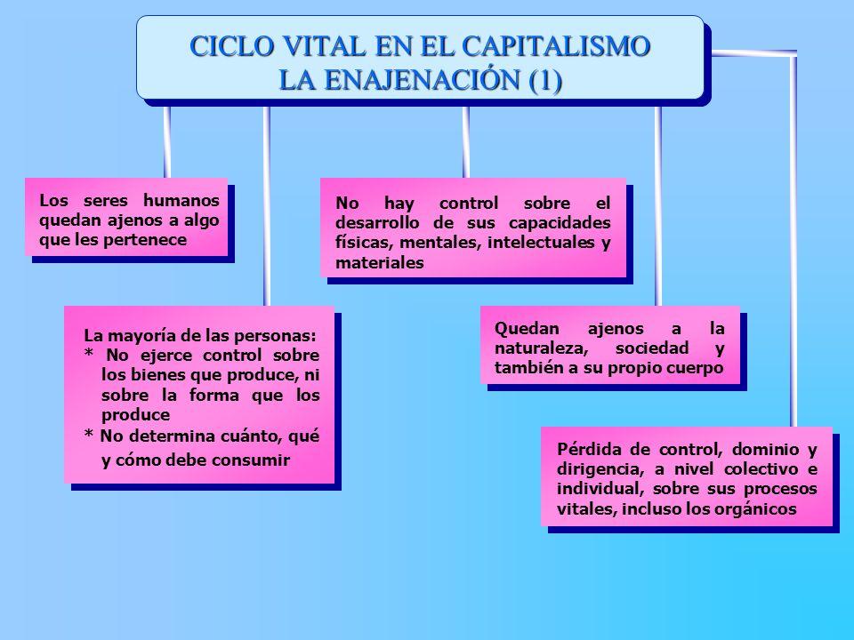 CICLO VITAL EN EL CAPITALISMO LA ENAJENACIÓN (1) La mayoría de las personas: * No ejerce control sobre los bienes que produce, ni sobre la forma que l