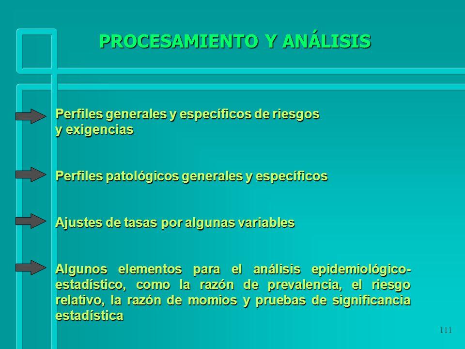 111 Perfiles generales y específicos de riesgos y exigencias Perfiles patológicos generales y específicos Ajustes de tasas por algunas variables Algun