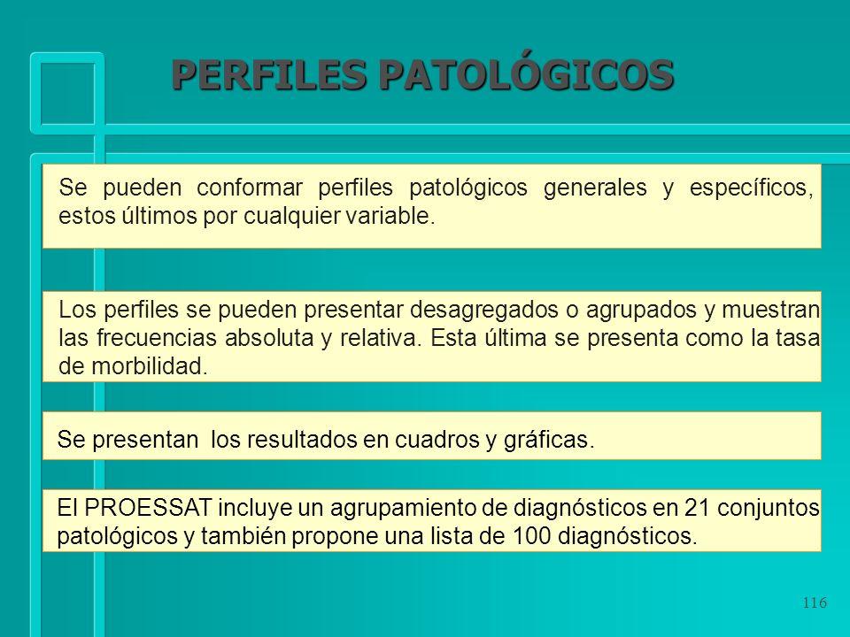 116 Se pueden conformar perfiles patológicos generales y específicos, estos últimos por cualquier variable. Se presentan los resultados en cuadros y g