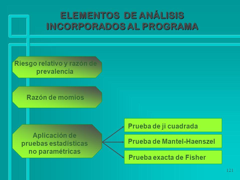 121 ELEMENTOS DE ANÁLISIS INCORPORADOS AL PROGRAMA Razón de momios Riesgo relativo y razón de prevalencia Prueba exacta de Fisher Aplicación de prueba