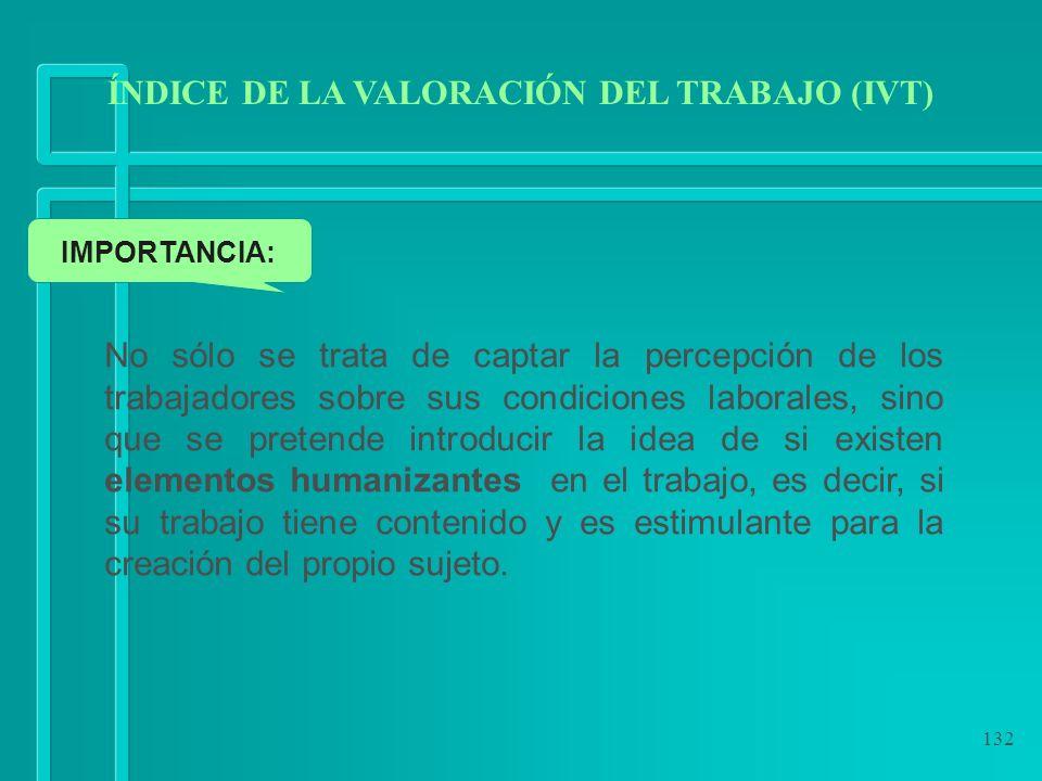 132 ÍNDICE DE LA VALORACIÓN DEL TRABAJO (IVT) IMPORTANCIA: No sólo se trata de captar la percepción de los trabajadores sobre sus condiciones laborale