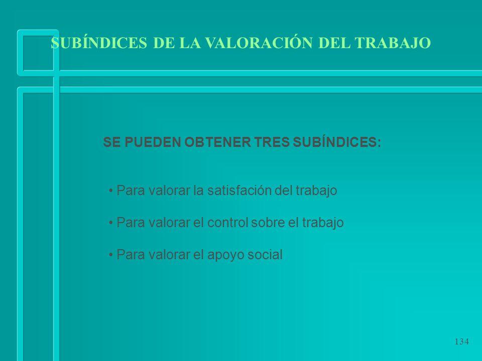 134 SE PUEDEN OBTENER TRES SUBÍNDICES: Para valorar la satisfación del trabajo Para valorar el control sobre el trabajo Para valorar el apoyo social S
