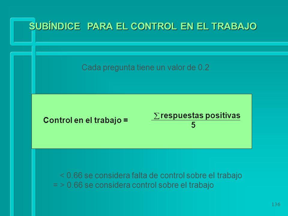 136 Cada pregunta tiene un valor de 0.2 < 0.66 se considera falta de control sobre el trabajo = > 0.66 se considera control sobre el trabajo respuesta