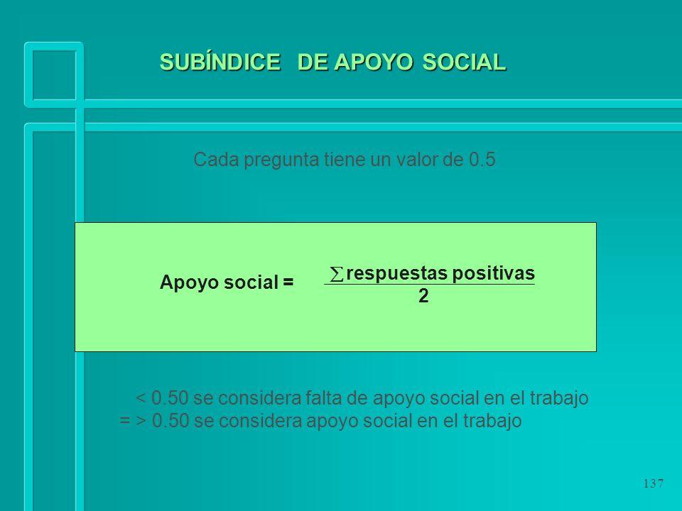 137 Cada pregunta tiene un valor de 0.5 < 0.50 se considera falta de apoyo social en el trabajo = > 0.50 se considera apoyo social en el trabajo respu