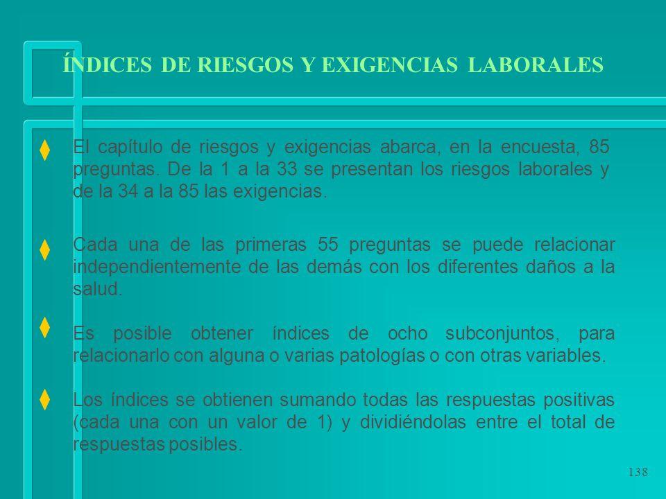 138 ÍNDICES DE RIESGOS Y EXIGENCIAS LABORALES El capítulo de riesgos y exigencias abarca, en la encuesta, 85 preguntas. De la 1 a la 33 se presentan l