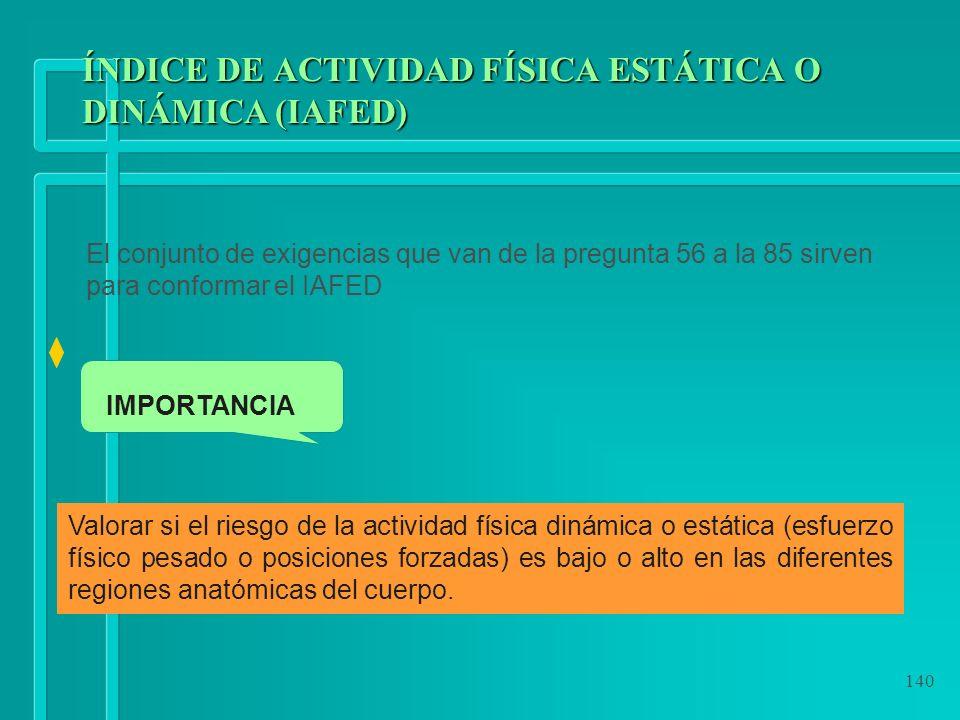 140 ÍNDICE DE ACTIVIDAD FÍSICA ESTÁTICA O DINÁMICA (IAFED) El conjunto de exigencias que van de la pregunta 56 a la 85 sirven para conformar el IAFED