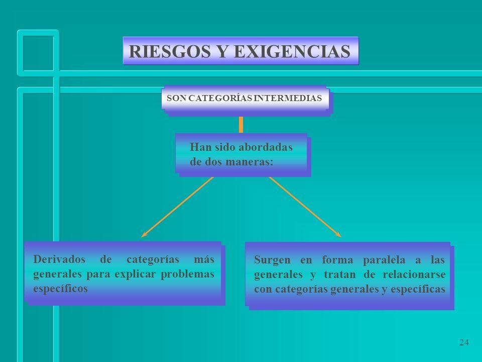 24 RIESGOS Y EXIGENCIAS SON CATEGORÍAS INTERMEDIAS Han sido abordadas de dos maneras: Derivados de categorías más generales para explicar problemas es