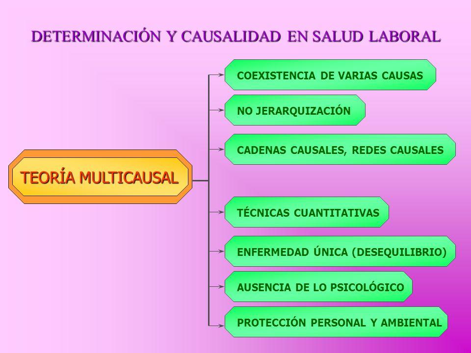 DETERMINACIÓN Y CAUSALIDAD EN SALUD LABORAL TEORÍA MULTICAUSAL COEXISTENCIA DE VARIAS CAUSAS NO JERARQUIZACIÓN CADENAS CAUSALES, REDES CAUSALES TÉCNIC
