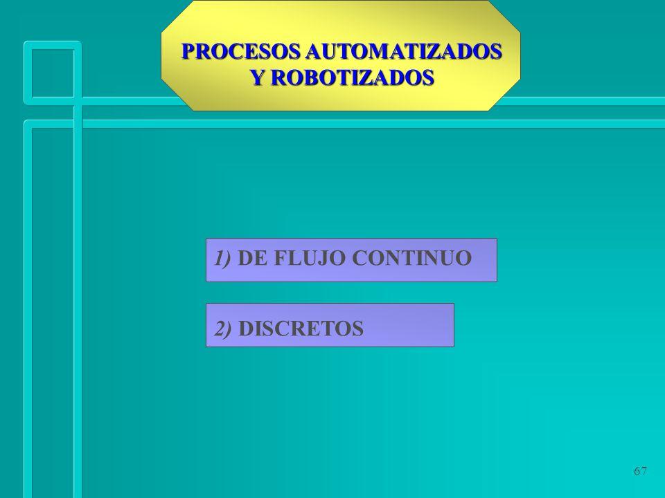 67 PROCESOS AUTOMATIZADOS Y ROBOTIZADOS 1) DE FLUJO CONTINUO 2) DISCRETOS