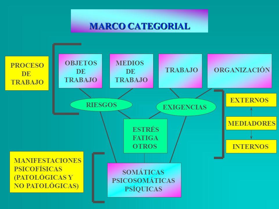 MARCO CATEGORIAL PROCESO DE TRABAJO OBJETOS DE TRABAJO MEDIOS DE TRABAJO RIESGOS ESTRÉS FATIGA OTROS TRABAJOORGANIZACIÓN MANIFESTACIONES PSICOFÍSICAS
