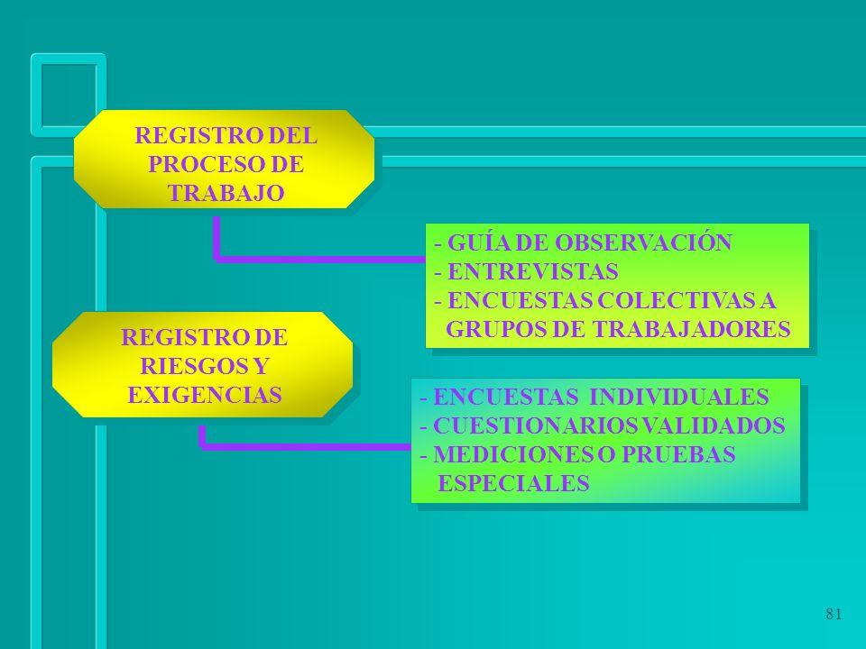 81 REGISTRO DEL PROCESO DE TRABAJO REGISTRO DE RIESGOS Y EXIGENCIAS - ENCUESTAS INDIVIDUALES - CUESTIONARIOS VALIDADOS - MEDICIONES O PRUEBAS ESPECIAL