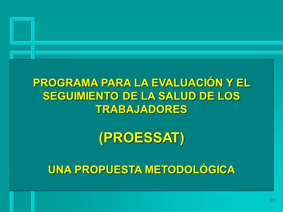 90 PROGRAMA PARA LA EVALUACIÓN Y EL SEGUIMIENTO DE LA SALUD DE LOS TRABAJADORES (PROESSAT) UNA PROPUESTA METODOLÓGICA