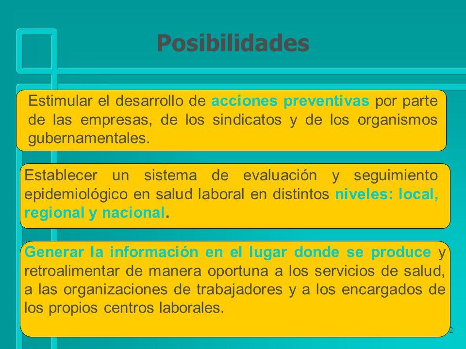 92 Estimular el desarrollo de acciones preventivas por parte de las empresas, de los sindicatos y de los organismos gubernamentales. Establecer un sis