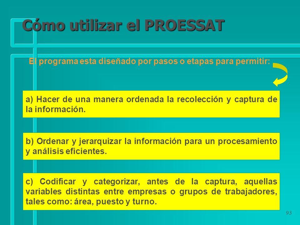 93 Cómo utilizar el PROESSAT a) Hacer de una manera ordenada la recolección y captura de la información. b) Ordenar y jerarquizar la información para