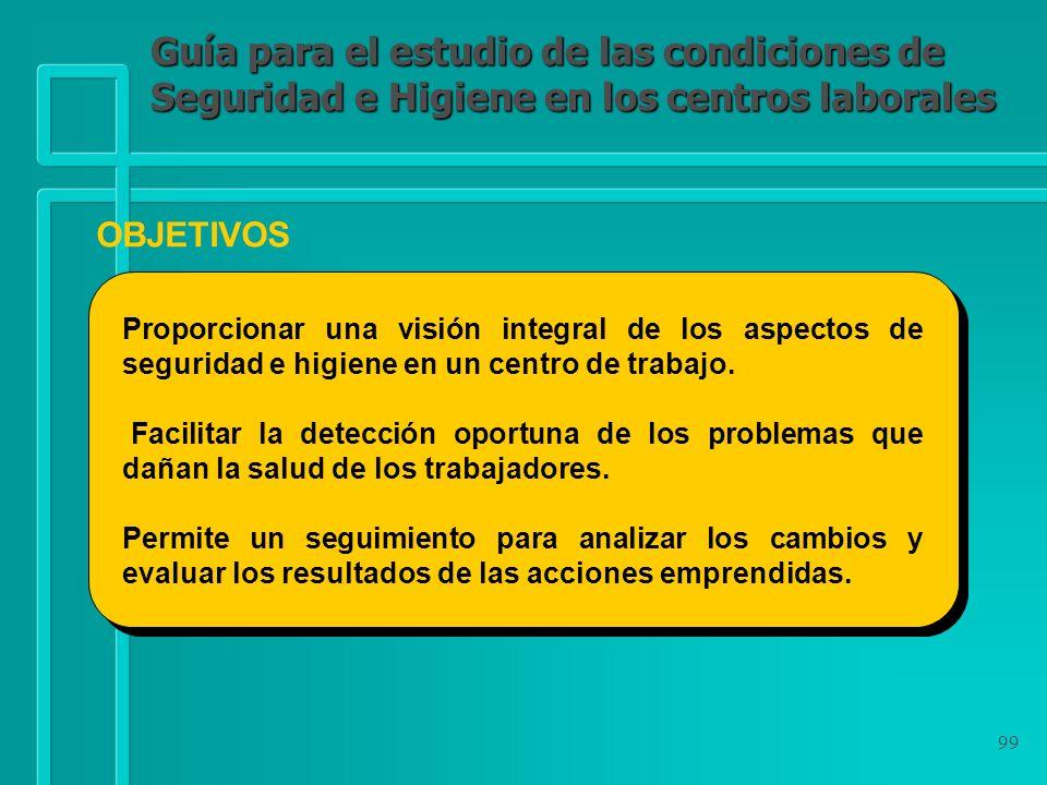 99 Guía para el estudio de las condiciones de Seguridad e Higiene en los centros laborales OBJETIVOS Proporcionar una visión integral de los aspectos