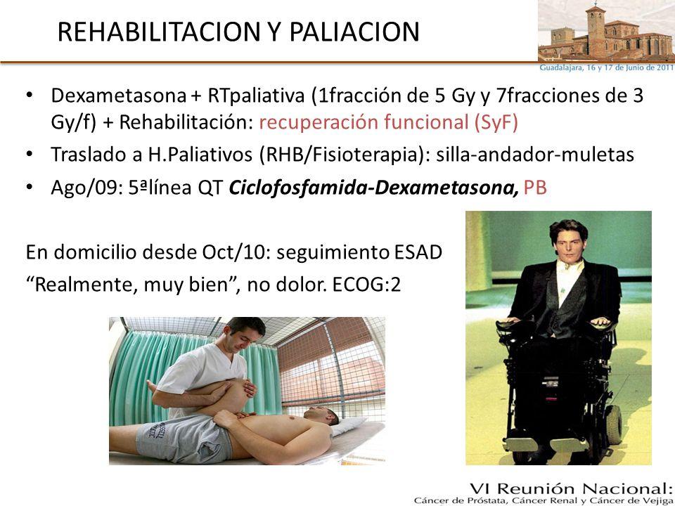 REHABILITACION Y PALIACION Dexametasona + RTpaliativa (1fracción de 5 Gy y 7fracciones de 3 Gy/f) + Rehabilitación: recuperación funcional (SyF) Trasl