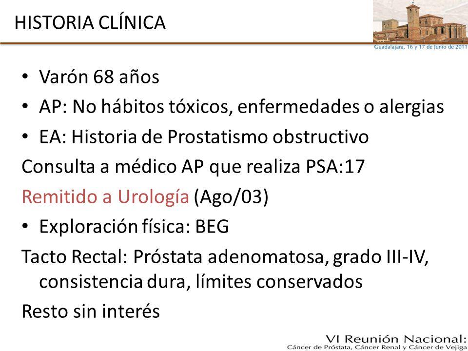 HISTORIA CLÍNICA Varón 68 años AP: No hábitos tóxicos, enfermedades o alergias EA: Historia de Prostatismo obstructivo Consulta a médico AP que realiz