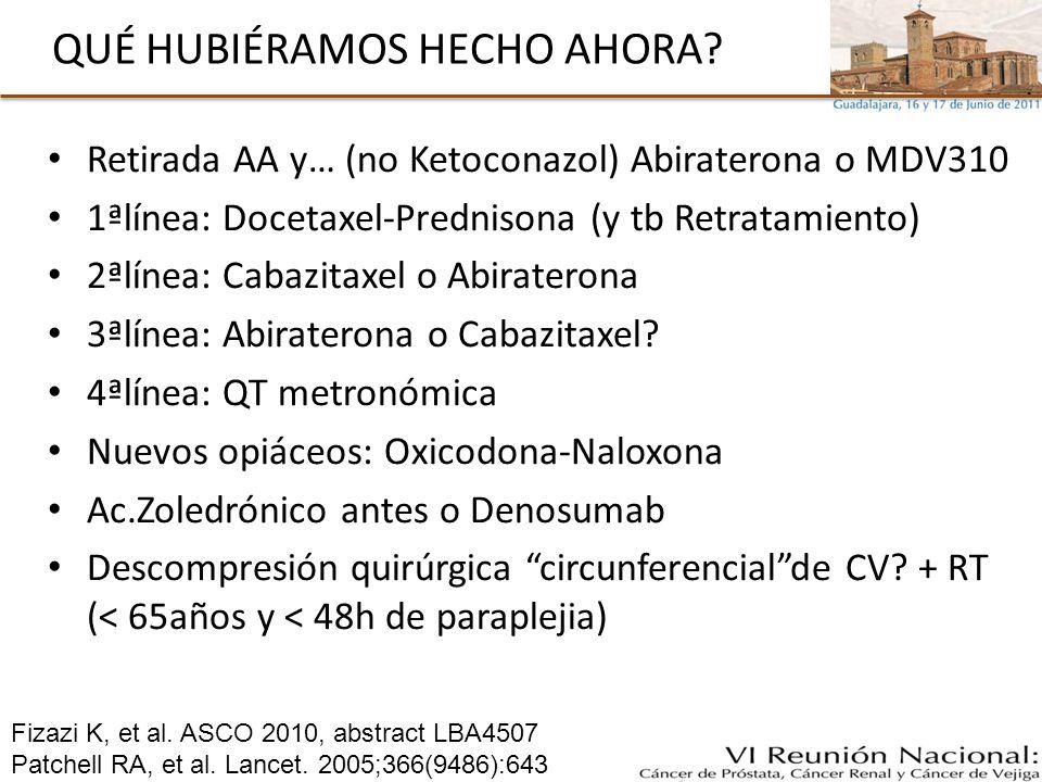 QUÉ HUBIÉRAMOS HECHO AHORA? Retirada AA y… (no Ketoconazol) Abiraterona o MDV310 1ªlínea: Docetaxel-Prednisona (y tb Retratamiento) 2ªlínea: Cabazitax