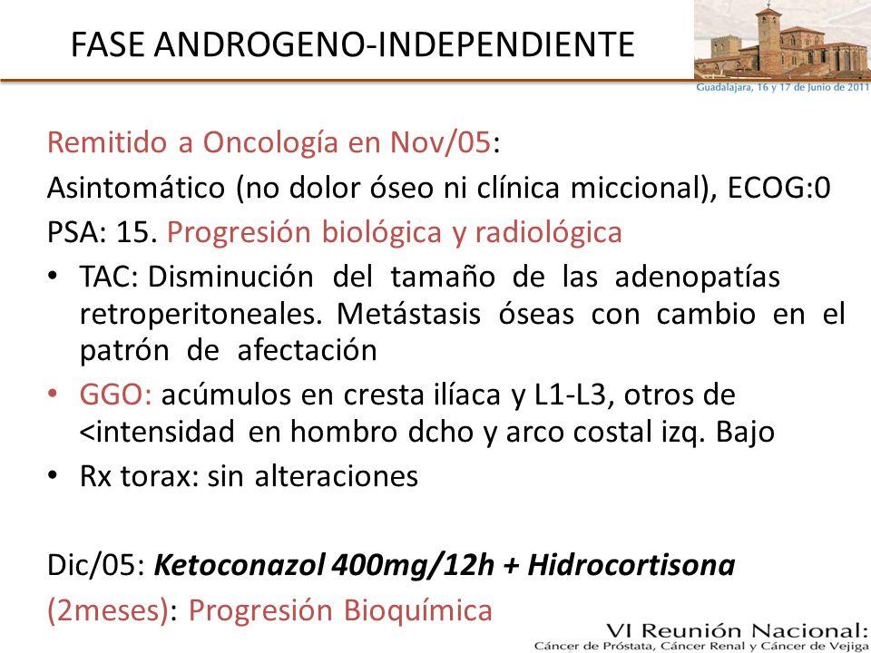 A debate en la COMPRESIÓN MEDULAR Glucocorticoides: Dosis altas (100mg/día) vs dosis bajas (16mg) e incluso no (Cochrane*) Valorar estabilidad de la CV: fijación quirúrgica RT externa: dosis y esquema Cirugía agresiva de debulking: Laminectomía + estabilización anterior con metilmetacrilato + RT (ECrandom)** Bloqueo Androgénico y QT * George R et al.