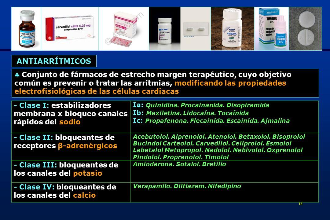 16 Generalidades Bloqueantes receptores -adrenérgicos: inhibidores competitivos de las catecolaminas en su unión a receptores adrenérgicos Clasificación - No selectivos (β 1 + β 2 ): propranolol, nadolol, timolol, bucindol, pindolol, carteolol, alprenolol, oxprenolol y sotalol (actividad antiarrítmica clase III QT) - Selectivos (β 1 ): atenolol, bisoprolol, metopropol, esmolol, celiprolol, acebutolol y nebivolol - Alfa-beta no selectivos (β 1 + β 2 + 1 ): carvedilol y labetalol - Alfa-beta selectivos : celiprolol En intoxicaciones agudas graves: 5 veces la dosis terapéutica máxima diaria Sintomatología: 97% intoxicaciones manifiestan sintomatología a las 4 h de la ingesta Signos guía: TA, FC y alteraciones conducción intrasinusal, AV e intraventricular Manifestaciones CV: bradicardia, bloqueo A-V, hipotensión y depresión de la función cardiaca (ICC/EAP) 1.- ANTIARRÍTMICOS BETABLOQUEANTES
